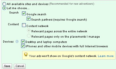 content network tip: separate it from search ads